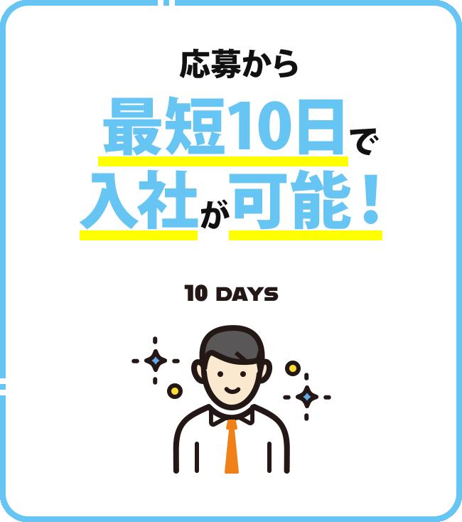 応募から㝡短10日で入社が可能!